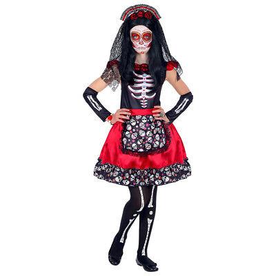 KINDER SKELETT KOSTÜM Halloween Dia De Los Muertos Tag der Toten Kopf Kleid - Skelett Kleid Kind Kostüm