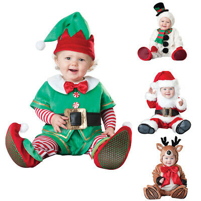 Xmas Snowman Elk Santa Costume Infant Baby Cosplay Suit Clothing Set Christmas  Baby Snowman Infant Costume