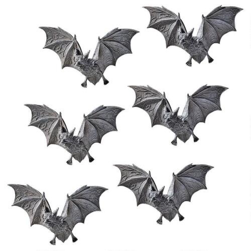 Set of 6: Vampire Bats Sculpture Scary Blood Sucking Flying Creatures Wall Decor
