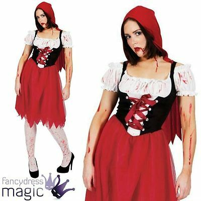 Red Hood Halloween Kostüme (LADIES WOMENS BLOOD RED RIDING HOOD HORROR HALLOWEEN FANCY DRESS COSTUME OUTFIT)