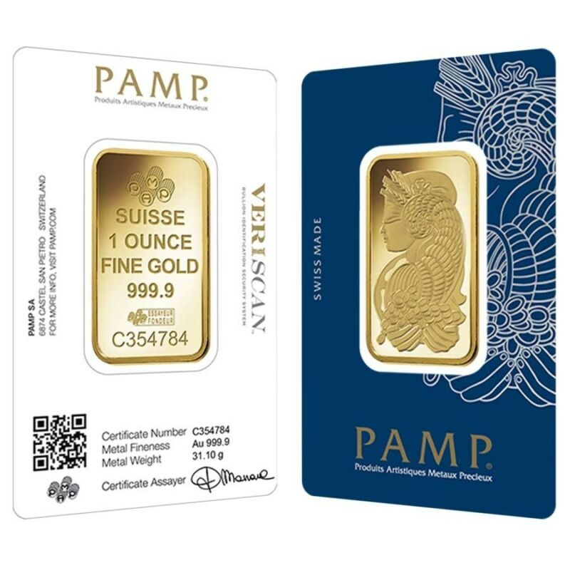 1 Oz Gold Bar Pamp Suisse Lady Fortuna Veriscan .9999 Fine (in Assay)