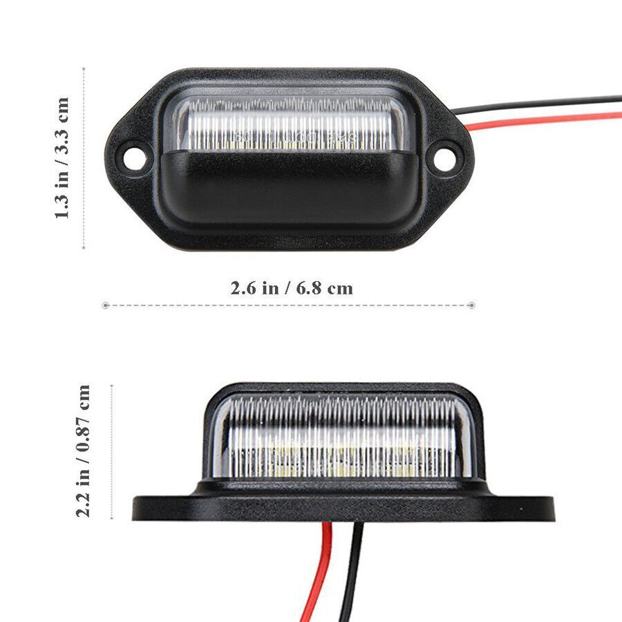 2Pcs Universal 12V Car Truck License Plate White LED Light