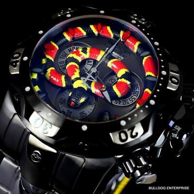 Invicta King Venom III Cobra Swiss Mvt Chronograph 52mm Black Steel Watch New