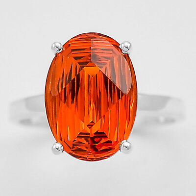 Padparadscha Sapphire Oval Fancy Cut 925 Sterling Silver Ring Jewelry DGR1075_E