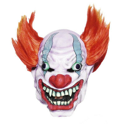Popular Halloween 'Evil Clown with Orange Hair' Horror Scary Latex Party Mask  - Clown Mask With Orange Hair
