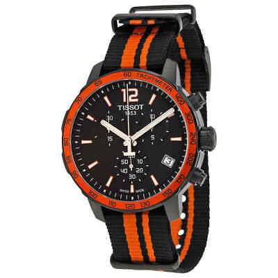 Tissot Quickster Chronograph Black Dial Black and Orange Synthetic Nylon Men's