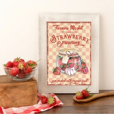 Wall hanging picture Vintage Retro Adverts signs Kitchen Bakery Cupcake Food Jam