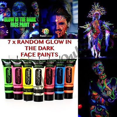 7 x Glow In The Dark Neon Face & Body Paint 10ml SET of 7 Face Paint Party Night - Face Painting Glow In The Dark