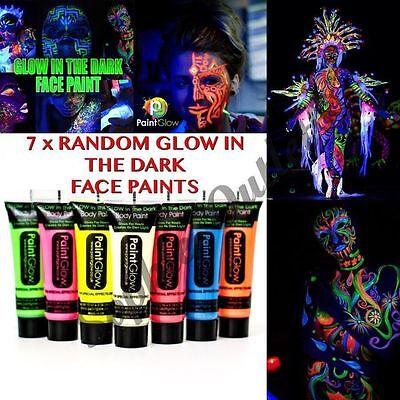 7 x Glow In The Dark Neon Face & Body Paint 10ml SET of 7 Face Paint Party Night (Glow In The Dark Paint Body Paint)