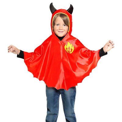 TEUFEL UMHANG & KAPUZE Jungs Halloween Karneval Kostüm - Teufel Kostüm Junge