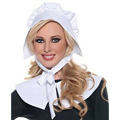 Pilgrim Bonnet & Collar White Cloth Colonial Adult Womens Costume Hat Headwear