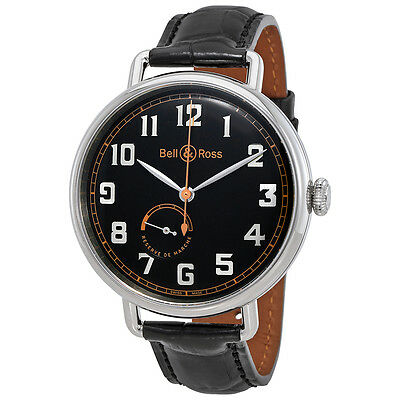 Bell and Ross Black Dial Automatic Mens Leather Watch BRWW197-HER-ST/SCR