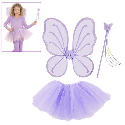 FEEN KOSTÜM KINDER LILA Karneval Elfen Dress-Up Flügel Rock Feenstab  # (Kinder Kostüme Dressup)