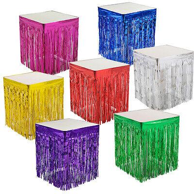 Fringed Table Skirt (Metallic Fringe Table Skirt Foil Tinsel Wedding Christmas party Decor 108