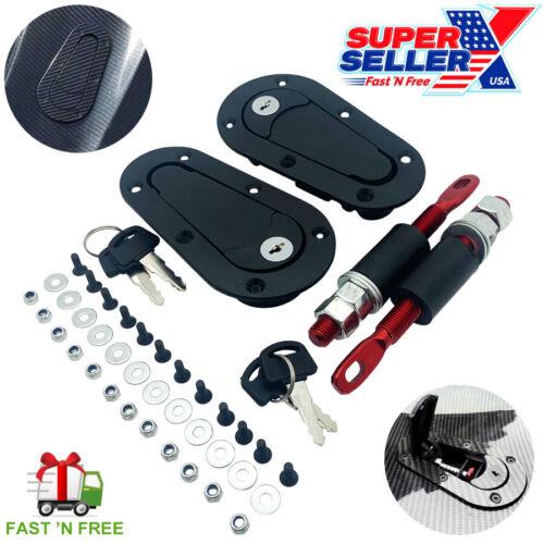 Quick Release Hood Pin Locking Latch Kit BLACK - Universal Fit - USA SELLER