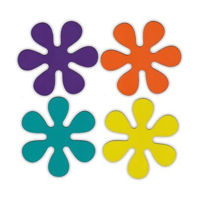 Magnetic Bumper Sticker - Set of 4 Magnets - 1970s Disco Style Flowers - Magnets - 1970 Disco Fashion