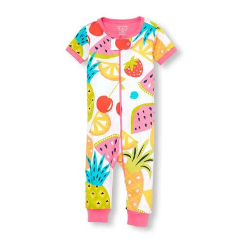 NWT The Childrens Place Fruit Girl Short Sleeve Stretchie Romper Sleeper Pajamas