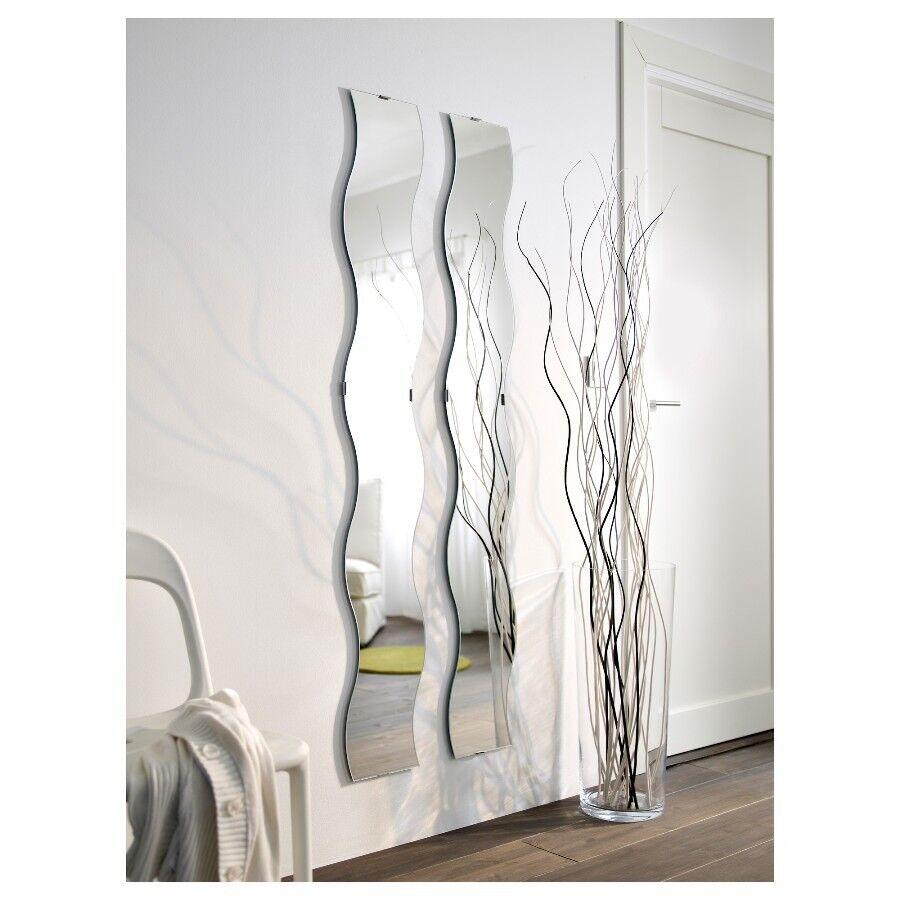 Ikea Krabb Wavy Long Wall Mirrors X 2 With Fixings