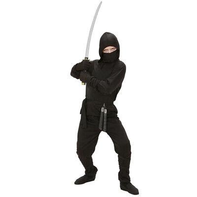NINJA KOSTÜM KINDER Karnval Fasching Jungen Samurai Schwarz 128/140/158 # (Jungen Schwarzen Ninja Kostüm)