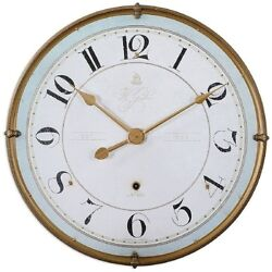 French Country Cottage Chic Antiqued Gold Frame Wall Clock Aged Ivory Blue 31.5