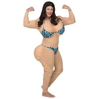 MISS BIKINI HERREN KOSTÜM # Karneval Bodybuilderin XL Riesen Brüste Hintern (Kostüm Karneval Natur)