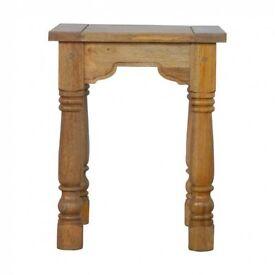 Rustic Hardwood Side Table Farmhouse Style
