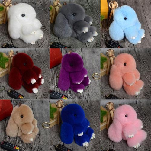 Pom Poms Keychain Bag Doll Fur Cute Bunny Rabbit Rex Ring Handbag Ball Pendant//S