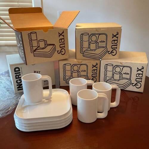 NOS NIB INGRID WHITE PLASTIC SNAX SET 4 trays 4 mugs Kartell Panton Heller MCM