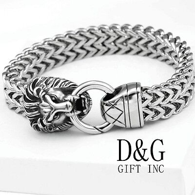 "DG Men's 8.5"" Silver Stainless-Steel,Lion Head Width Franco Chain Bracelet**BOX"