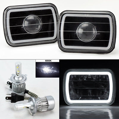 "7X6"" Black Projector Glass CCFL White Halo Headlights & 6K 36W LED H4 Bulbs Jeep"