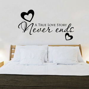 True love never ends heart quote wall stickers art bedroom for Bedroom furniture quotes
