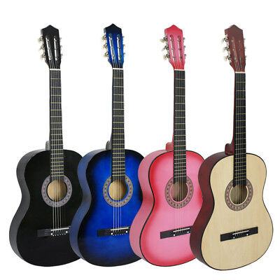 "38"" ACOUSTIC GUITAR + GIG BAG + STRAP + TUNER 6 String Kids Musical Gift Wooden"