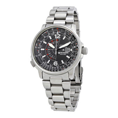 Citizen Mens Bj7000 52E  Nighthawk  Stainless Steel Eco Drive Watch