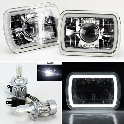 "7X6"" Clear Projector Glass CCFL White Halo Headlights & 6K 36W LED H4 Bulbs Plym"