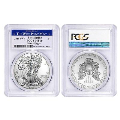 Lot of 2 - 2018 (W) 1 oz Silver American Eagle $1 Coin PCGS MS 69 FS West Point