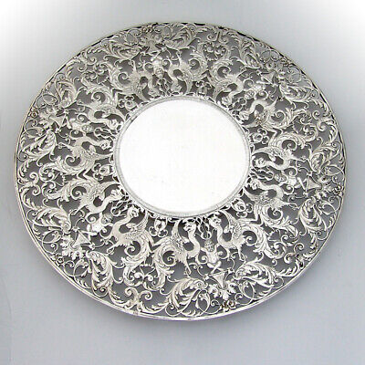 Roger Williams Openwork Ornate Cake Plate Sterling Silver Overlay