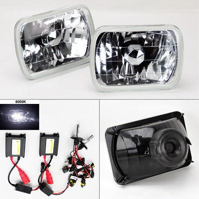 """7X6"""" 6K HID Xenon H4 Crystal Clear Glass Headlight Conversion Pair RH LH Jeep"""