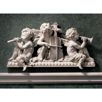 Design Toscano Angelic Notes Sculptural Wall Pediment With Aged Stone Finish
