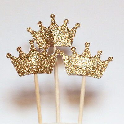 10pcs Golden Glitter Crown Cake Topper Tag Wedding Birthday Party Decoration (Golden Birthday Decorations)