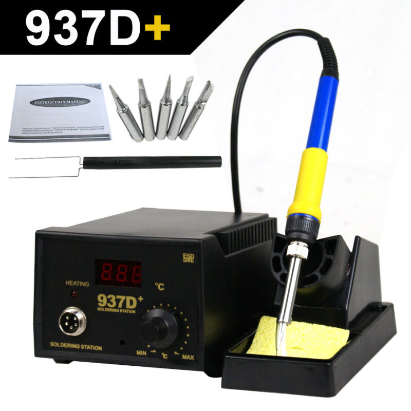 Rework Soldering Station JP Heater Iron Welding Solder SMD Tool 5 Tips ESD 937D+