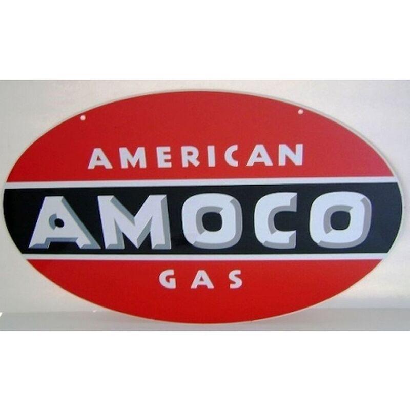 "Amoco Single Sided Heavy Oval Sign 24"" Cabin Home Station Garage Shop Decor"