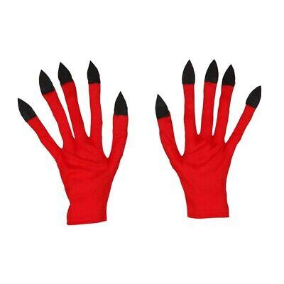 ROTE LANGFINGER HANDSCHUHE Nägel Dämon Teufel Satan Halloween Kostüm Party - Lange Finger Handschuhe Kostüm