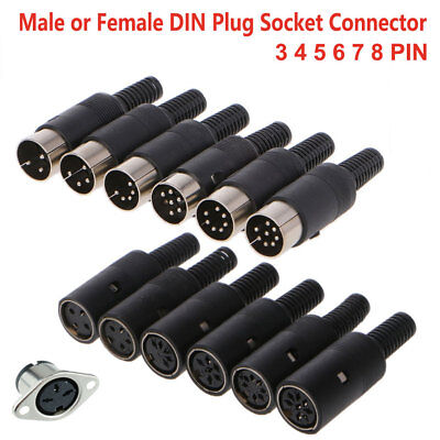 Male Female Din Plug Socket Solder Terminals Connector 3 4 5 6 7 8 Pin