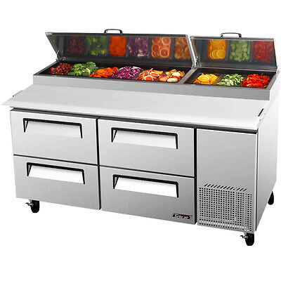 Turbo Air Tpr-67sd-d4 67 Commercial Four Drawer Pizza Prep Table Cooler
