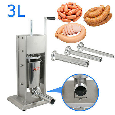 3l Stainless 7lb Vertical Sausage Stuffer Commercial Restaurant Pork Meat