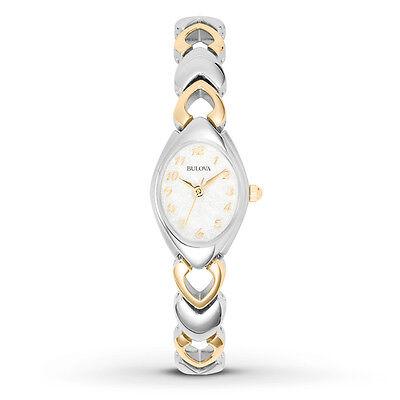 Bulova 98V02 Women's Dress S/S Silver & Gold Tone Bracelet White Dial Watch