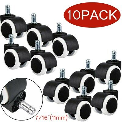 10 Pack Office Chair Wheel Caster Swivel Rubber Wood Floor Replacement 716 11m