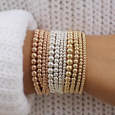Boho 14k Gold Plated Beads Beaded Stackable Bracelet Women Bohemian