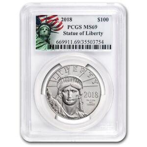 2018 1 oz Platinum American Eagle MS-69 PCGS (Liberty Label)