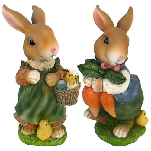 """Bunny Hop Lane Mother And Father Rabbit Design Toscano Exclusive 12"""" Statues"""